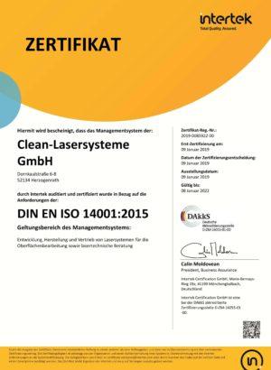Zertifikat ISO 14001 deutsch